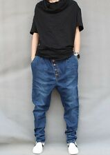 Men's Harem Pants Denim Tapered Jeans Drop Crotch Skateboard Baggy Trousers