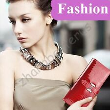 Famous brand ! Crocodile Pattern Long Leather Women Clutch Wallet Handbags Purse