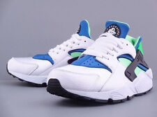 NIKE AIR HUARACHE WHITE SCREAM GREEN ROYAL BLUE BLACK NEW RETRO 2014 318429-100