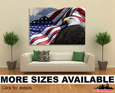 Wall Art Canvas Picture Print - American Flag and Bald Eagle USA 3.2