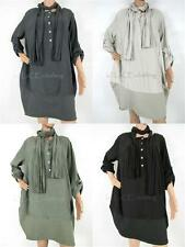 NEW Asymmetric Italian Buttoned 100% Viscose Lagenlook Cocoon Tunic & Scarf Set