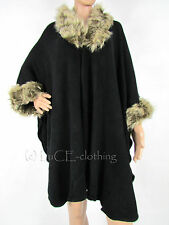 NEW Ladies Soft Knit Faux Fur Trim Luxury Shawl Cape OSFA