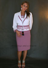 Elegant Suit Mother Of The Bride 3 Piece Outfit Top Skirt Jacket Lilac & Ivory