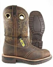 Rocky BOOTS WESTERN SQUARE TOE STEEL TOE Brown LEATHER WORK BOOT
