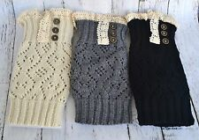 Women's Crochet Lace and Buttons Knitted Boot Toppers Leg Cuffs Warmers Socks