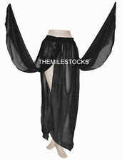 TMS BLACK 4 Petal Skirt Belly Dance Penal TRIBAL Gypsy Costume Club JUPE DANSE