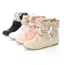 New Fashion Women's Sweet Bowknot Short Ankle Boots Shoes Plus Size 34-43 XWX175