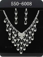 2014 1set Hot Rhinestone Bridal Wedding Prom Necklace& Earrings Jewellery 6008