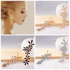 Ladies Flower Snowflake Rhinestone Long Dangle Stud Earrings Gold Silver Black