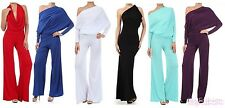 New Multi Way Convertible Jumpsuit Reversible Plunging Off One Shoulder Halter