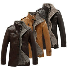 Mens Winter Jacket Leather Coat Fur Parka Fleece Jacket Trench Coat