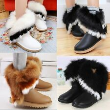 Women's Winter Mid Calf Snow Boots Fur Lining Faux Fur Furry Warm Pull On Boots