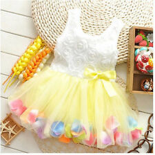 New Rose Floral Pearl Chiffon Princess Toddler Baby Girls Princess Dress