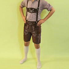 Bavarian LEDERHOSEN Plattlerhosen Real Goat Suede Leather Oktoberfest Dark Brown