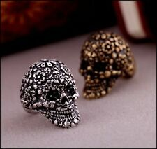 NEW POPULAR VINTAGE SUGAR SKULL SILVER/BRONZE PUNK ROCK TATTOO LOVER RING