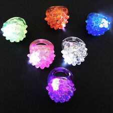 LED Light Up Flashing Jelly Bumpy Rings 24 & 12 Count Assorted Colors Fun Glow