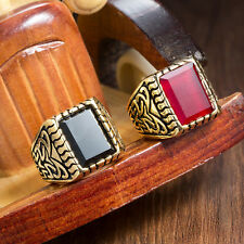 18k Gold Plated Vintage Square Agate Stone Graduate Class Ring Size 9, 10, 11 US