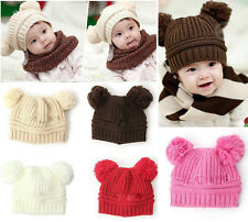 Kids Baby Girls Boys Two Balls Wool Knitted Lovely Clothes Caps Toddlers Hats
