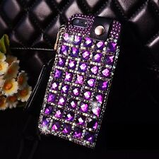 Luxury Purple Bling Crystal PU Leather Back Cover Case for iPhone 4 5S 5C