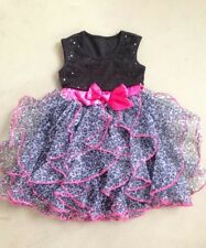 New Pageant Dress Party Flower Girls Baby Toddler Leopard Chiffon Layered Dress