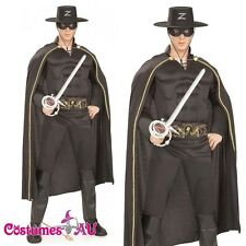 Mens Deluxe Zorro Muscle Chest Halloween Hero Fancy Dress Adult Costume