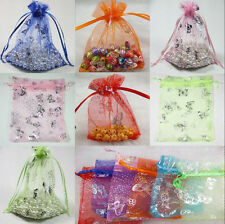 50Pcs Butterfly Organza Jewelry Packing Pouch Wedding Favor Candy Gift Bag 9x7cm