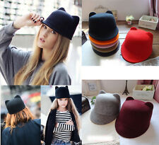 Halloween Women Devil Horns Hat Cat Ears Wool Derby Bowler Cap Winter Fashion