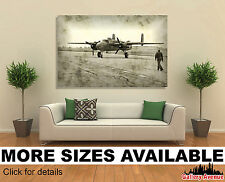 Wall Art Canvas Picture (Unframed) - Faded Photo of Old Bomber and it's Pilot