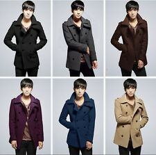 US Seller Korean Style Mens Peacoat Trench Coat Double Breasted Jacket PK48