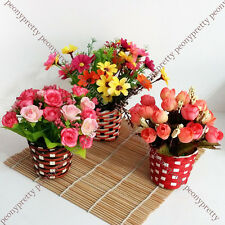 Sweet artificial fake flower plant straw pot home office wedding decor gift