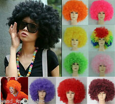 Hot Womens Mens Disco Clown Football Supporter Fans Costume Party Afro Full Wigs