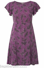 WHITE STUFF AKIRA PURPLE GREY BLACK FLORAL PRINTED FLOATY VINTAGE TEA DRESS 1950
