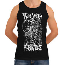 Wellcoda   NEW Fun With Knives Ghoul Men Women Funny Tank Top *to61