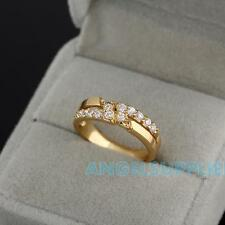 A#S0 Crystal Embedded Diamante Finger Ring 18K Gold Filled USA #7 #8 Gold