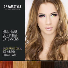 "22"" Inch Full Head Clip In  Human Hair Exensions Black.Brown Blonde Red"