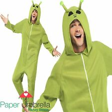 Alien Fancy Dress Costume Green Adult Onsie Mens Halloween outfit face paint