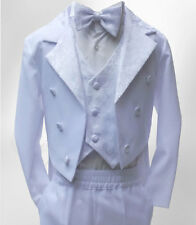 Baby Boy 5 Piece White Tuxedo Tail Suit, Boys Christening Baptism Outfit