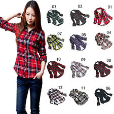 Women's Tartan British Style Flannel Caroset Plaid Shirt Long Sleeve Fit Blouse