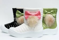 New Cute Kids Girl's Toddlers Winter Warm Snow Boot Faux Leather Bow Hair Shoes
