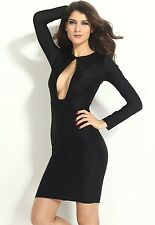 Honeystore Round Neck Long Sleeves Black Cut Out Midi Bodycon Dress LC6261