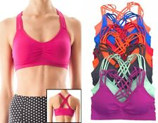 CAGED BACK STRAPPY  WORKOUT  SEAMLESS SPORTS BRA Top Bra  Bustier  with Pads