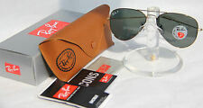NEW Ray Ban Polarized Aviator RB3025 001/58 Gold Frame, Green Crystal All Size
