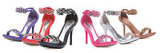 "2014 Fashion Women Stiletto High 4"" Heel Rhinestone Ankle Strap Sandal ELLIE"