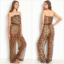 Sexy Fashion Strapless Leopard Printed Belted Jumpsuit Rompers Wide-leg Trousers
