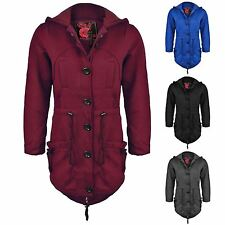 New Ladies Womens Hood Toggle Duffle Trench Hooded Pocket Winter Coat Jacket