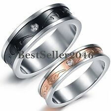 Mens Black Womens Gold Tone Stainless Steel Promise Engagement Ring Wedding Band