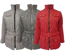 New Womens Plus Size Belted Padded Full Zip Winter Jacket Quilted Coats  4-22