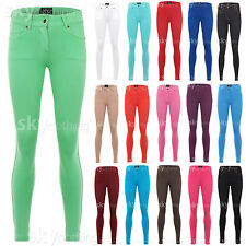 NEW LADIES SKINNY FIT COLOURED STRETCH JEANS WOMENS JEGGINGS TROUSERS SIZE 8-20