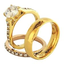 His Hers 3 PCS Her Gold/Rose Gold IP Stainless Steel Ring Set /His Gold IP Band