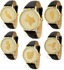 Geneva Unisex Gold Trim State Outline Leather Watch - Free Shipping!